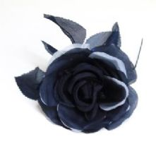 Double Petal Navy Blue Two Tone Silk Rose